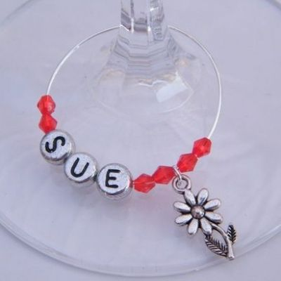 Flower With Stem Personalised Wine Glass Charm